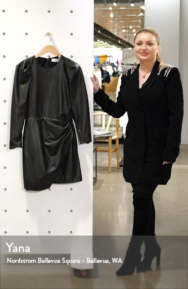 Lana Long Sleeve Leather Minidress, sales video thumbnail