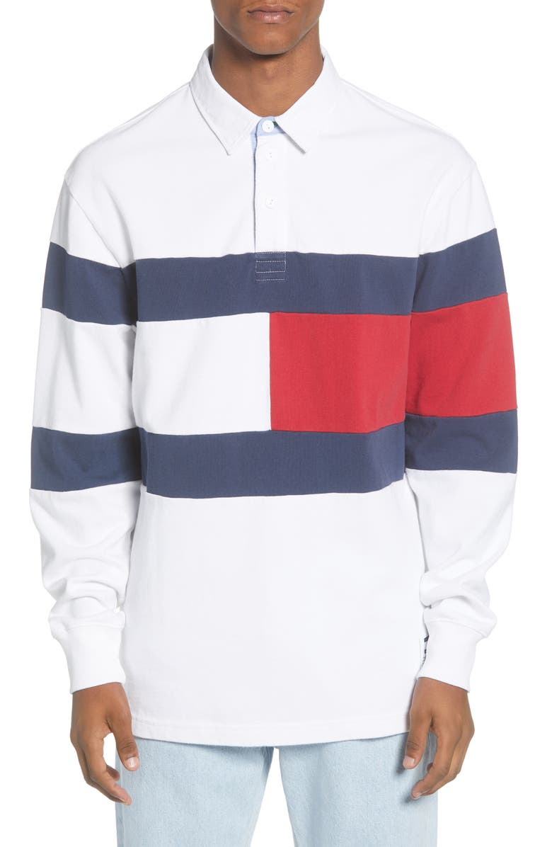 TOMMY JEANS TJM Flag Rugby Shirt, Main, color, 100
