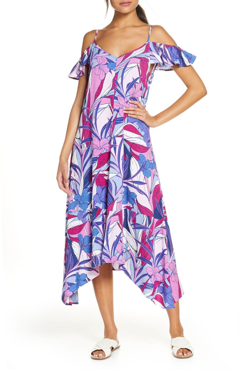 TOMMY BAHAMA Oasis Blossoms Cover-Up Dress, Main, color, BLUE MONDAY