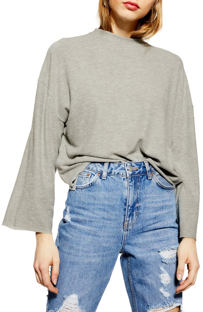 TOPSHOP Super Soft Ribbed Sweater, Main, color, GREY