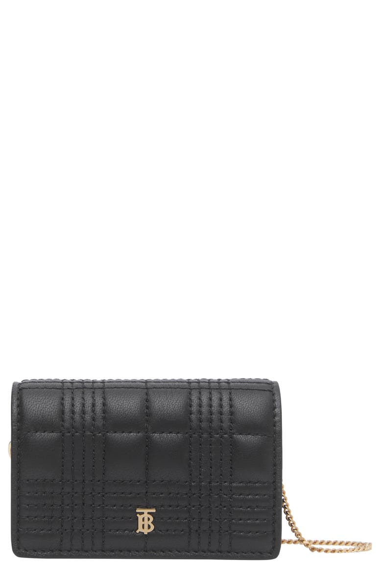 BURBERRY Jessie Quilted Leather Wallet on a Chain, Main, color, BLACK