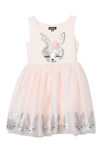 Image of Zunie Sequin Bunny Mesh Bow Dress
