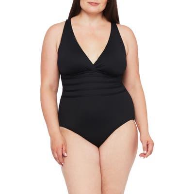 Plus Size La Blanca Island Goddess One-Piece Swimsuit, Black