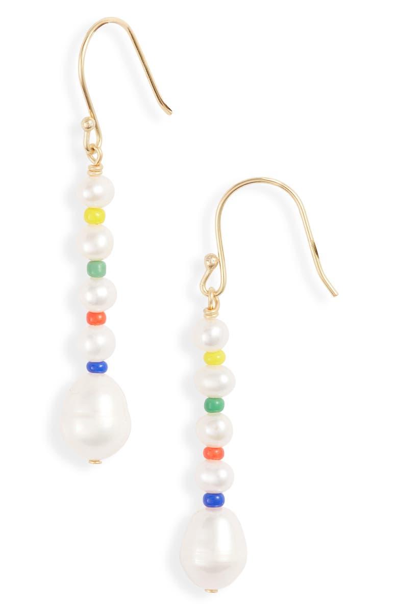 ARGENTO VIVO STERLING SILVER Argento Vivo Rainbow Pearl Drop Earrings, Main, color, GOLD
