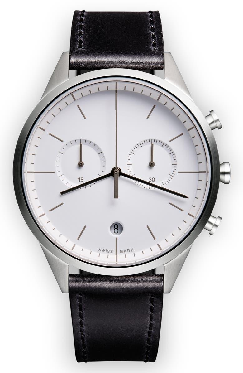 UNIFORM WARES C-Line Chronograph Leather Strap Watch, 40mm, Main, color, 001