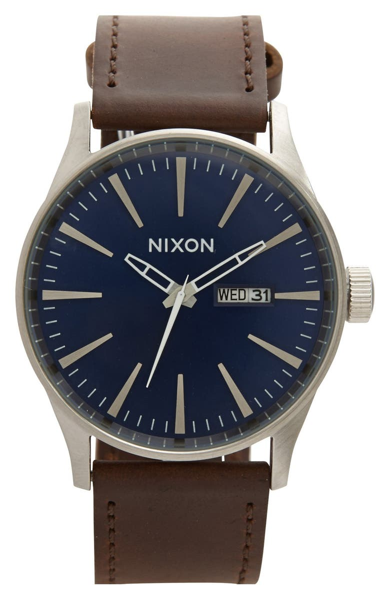 NIXON The Sentry Leather Strap Watch, 42mm, Main, color, BROWN/ BLUE