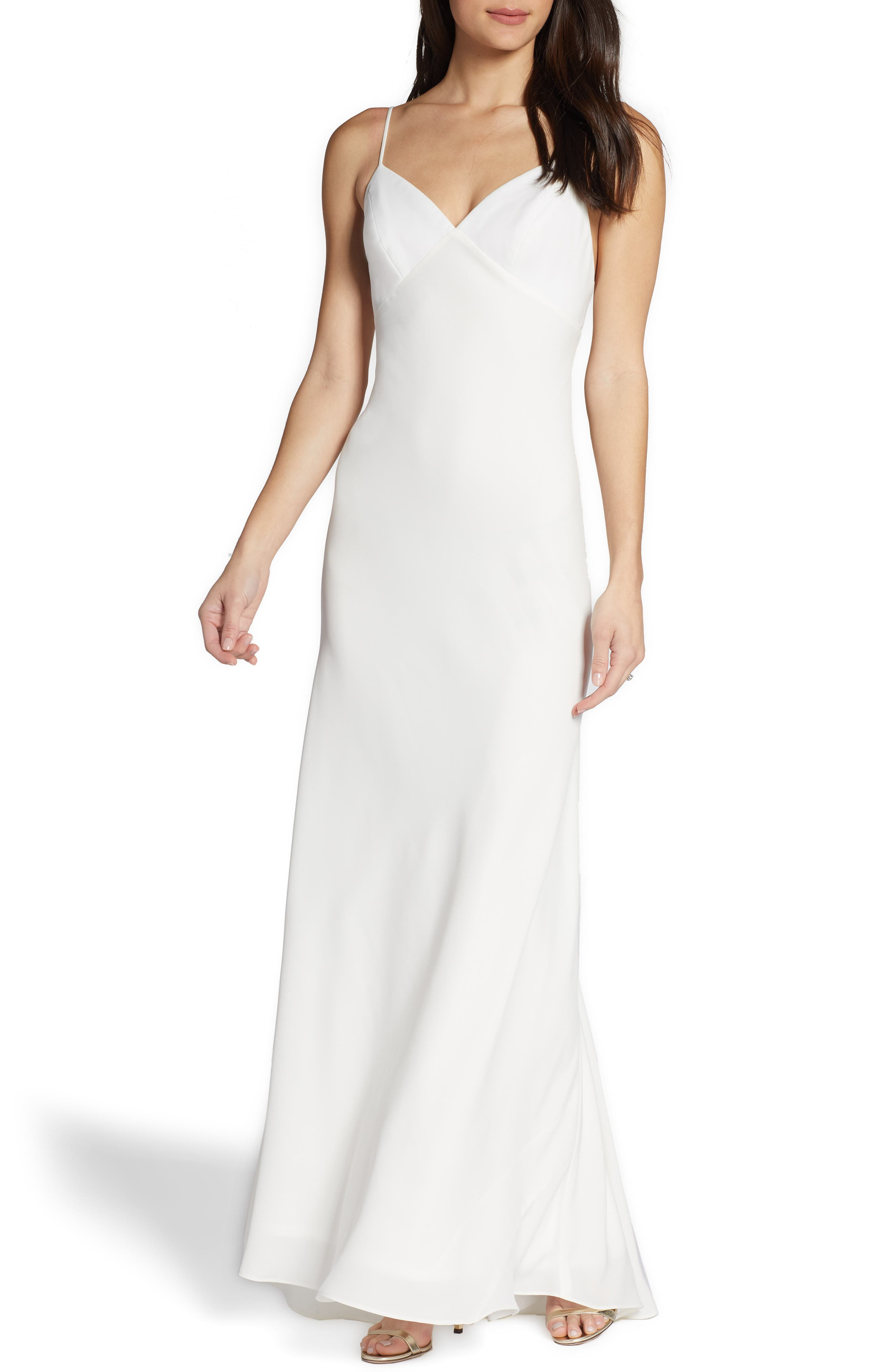 Watters Slip Wedding Dress, Ivory