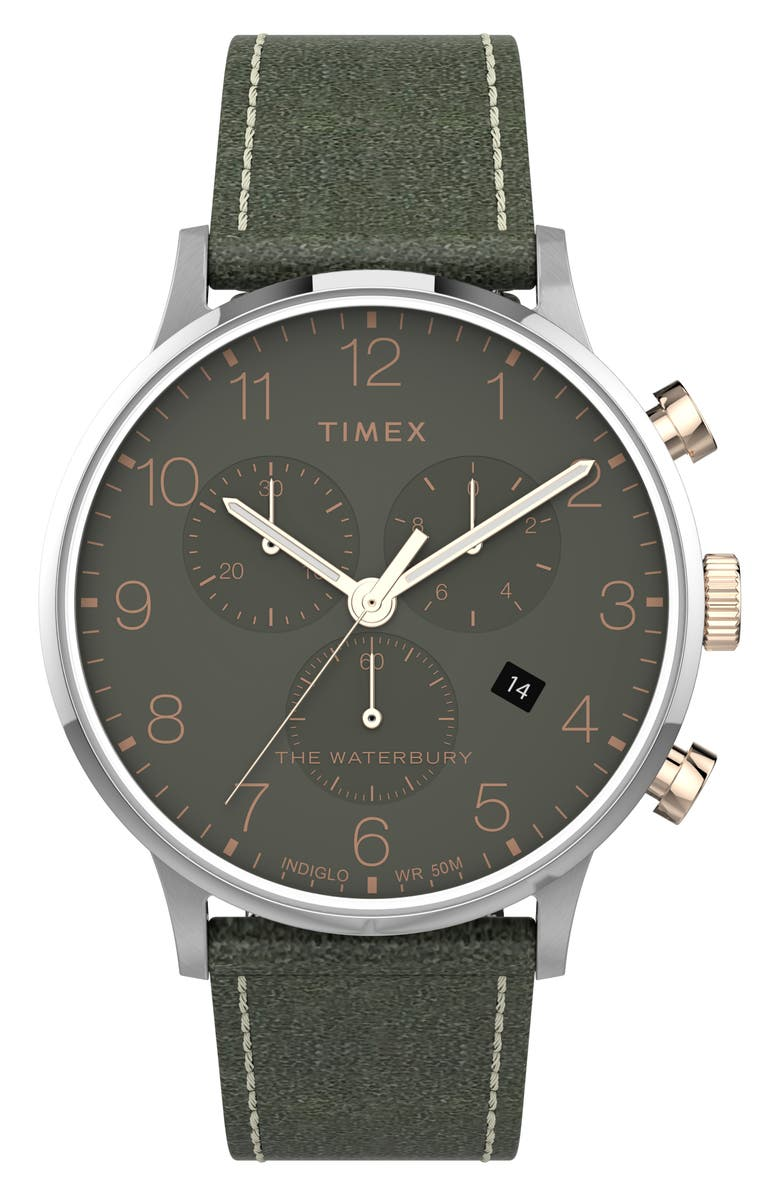 TIMEX<SUP>®</SUP> Waterbury Classic Chronograph Leather Strap Watch, 40mm, Main, color, GREEN/ SILVER