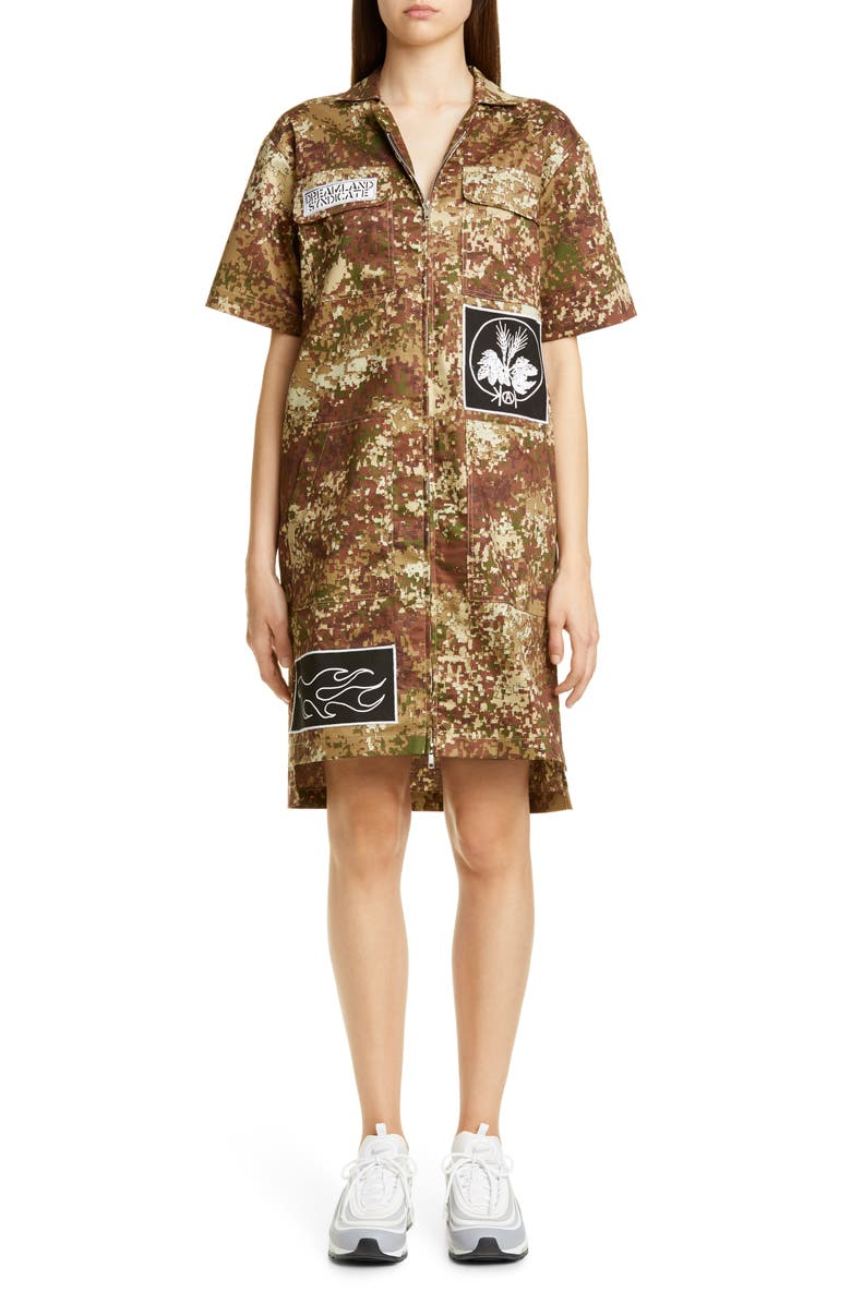 DREAMLAND SYNDICATE Patch Embroidered Camo Dress, Main, color, FLECKTARN CAMO