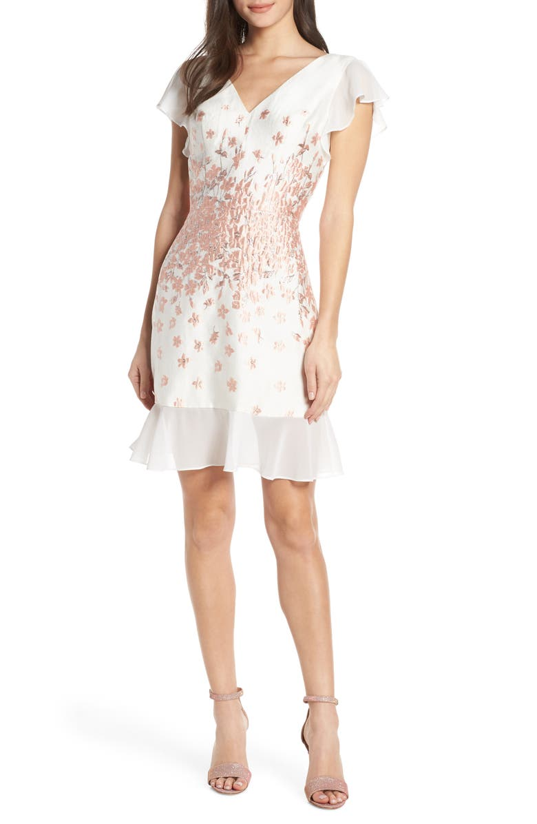 CHI CHI LONDON Esmee Jacquard V-Neck Cocktail Dress, Main, color, WHITE
