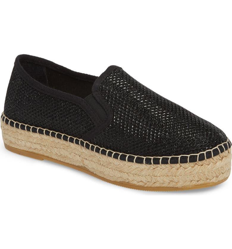TONI PONS Fonda Platform Espadrille Sneaker, Main, color, BLACK FABRIC