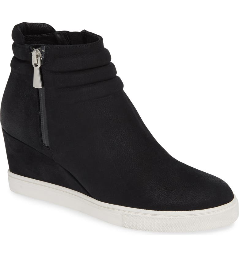 LINEA PAOLO Flo Waterproof Wedge Bootie, Main, color, BLACK LEATHER