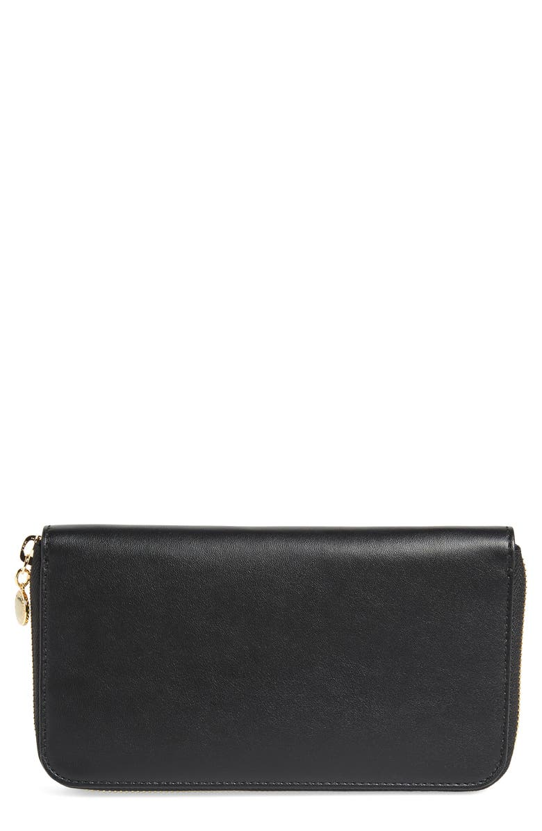 STELLA MCCARTNEY Alter Nappa Perforated Logo Faux Leather Wallet, Main, color, BLACK