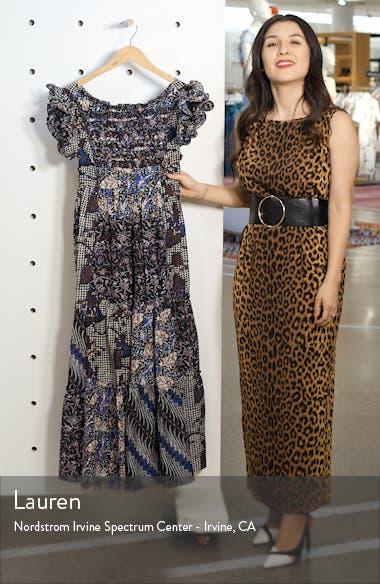 Zoya Ruffle Trim Ikat Midi Dress, sales video thumbnail
