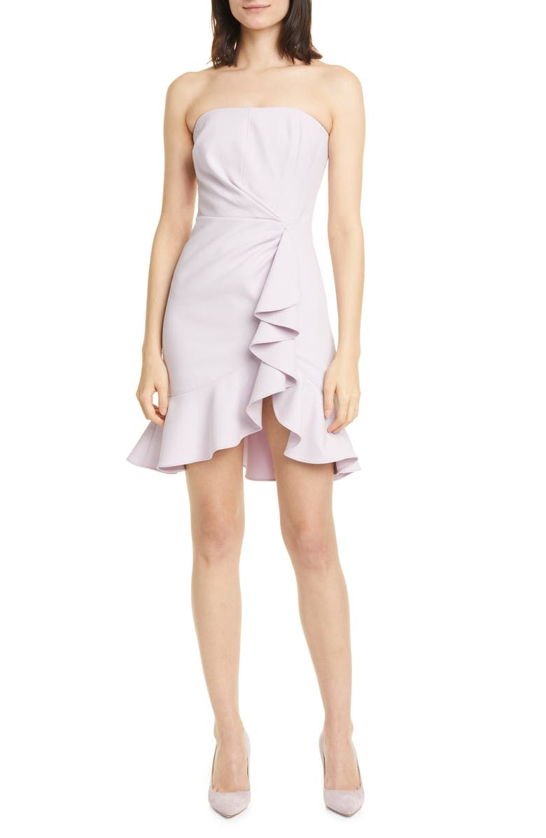 CINQ À SEPT Cassandra Ruffle Strapless Minidress, Main, color, 500