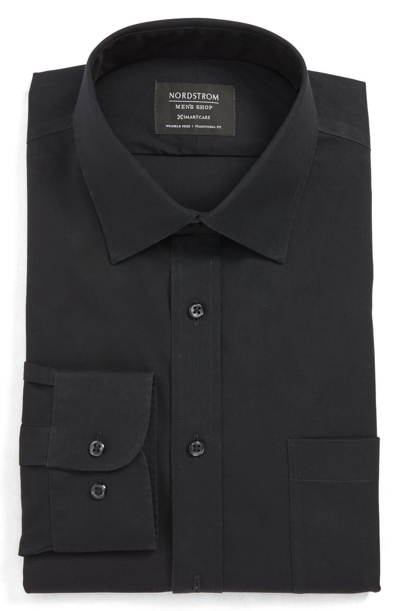 NORDSTROM MEN'S SHOP Smartcare<sup>™</sup> Traditional Fit Dress Shirt, Main, color, BLACK