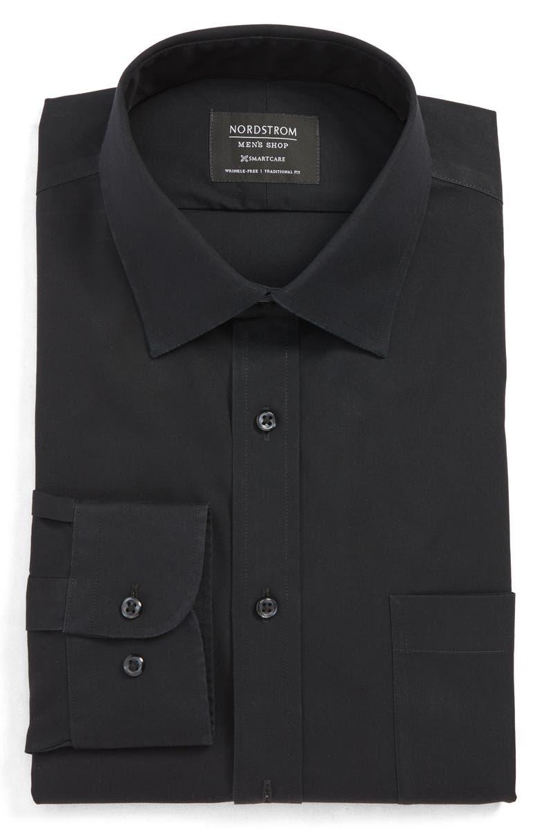 NORDSTROM MEN'S SHOP Smartcare<sup>™</sup> Traditional Fit Dress Shirt, Main, color, BLACK