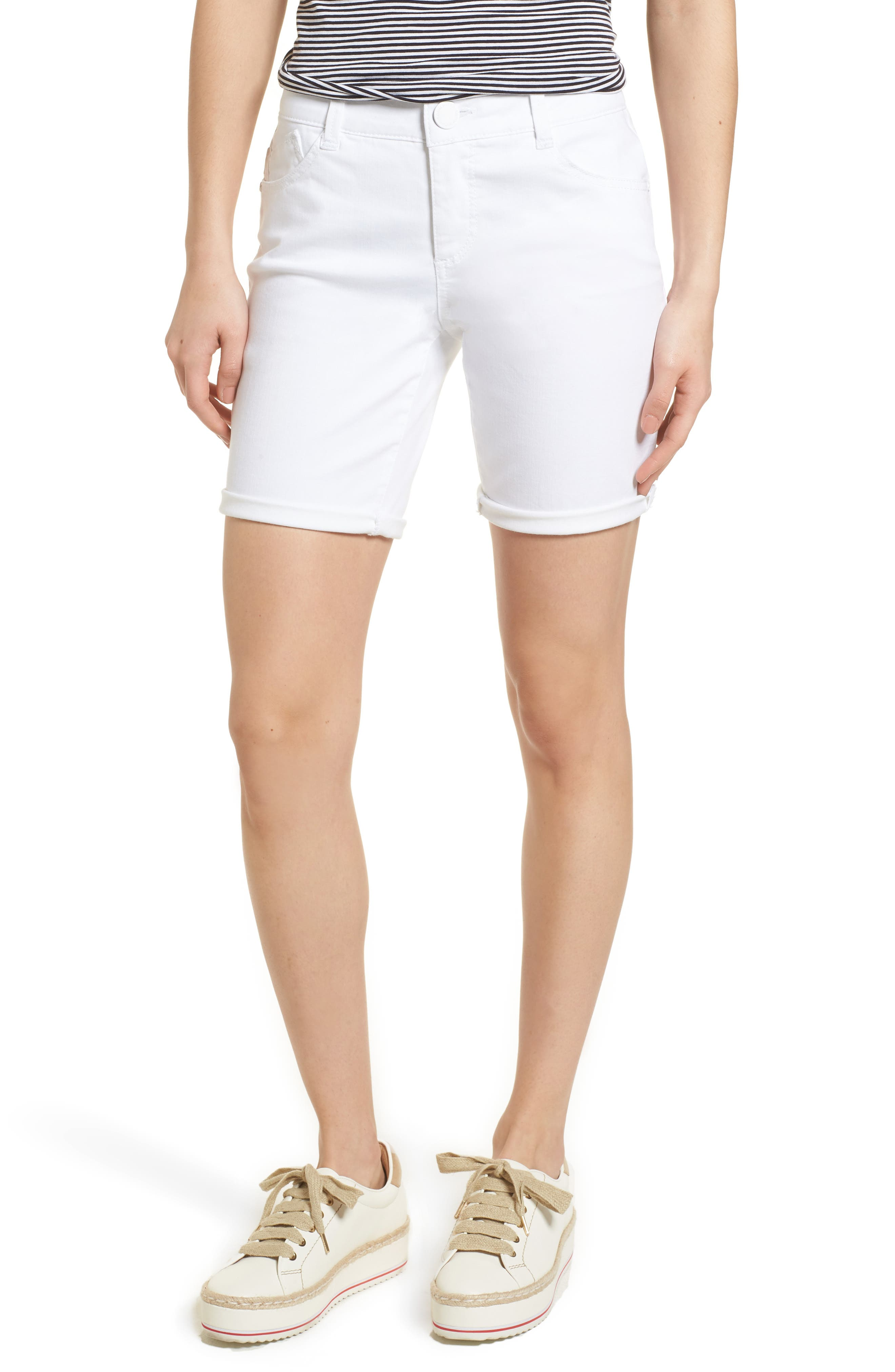 When it\\\'s time to put away the parka and slip into shorts, this pair, with exclusive mold-and-hold fit technology, is the one to live in. Style Name: Wit & Wisdom Ab-Solution White Denim Shorts (Regular & Petite) (Nordstrom Exclusive). Style Number: 5517510 1. Available in stores.