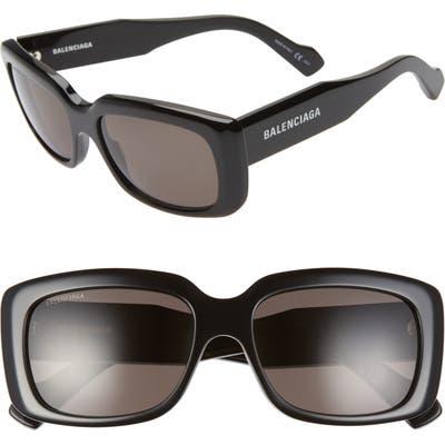 Balenciaga 5m Rectangular Sunglasses - Shiny Black/ Black