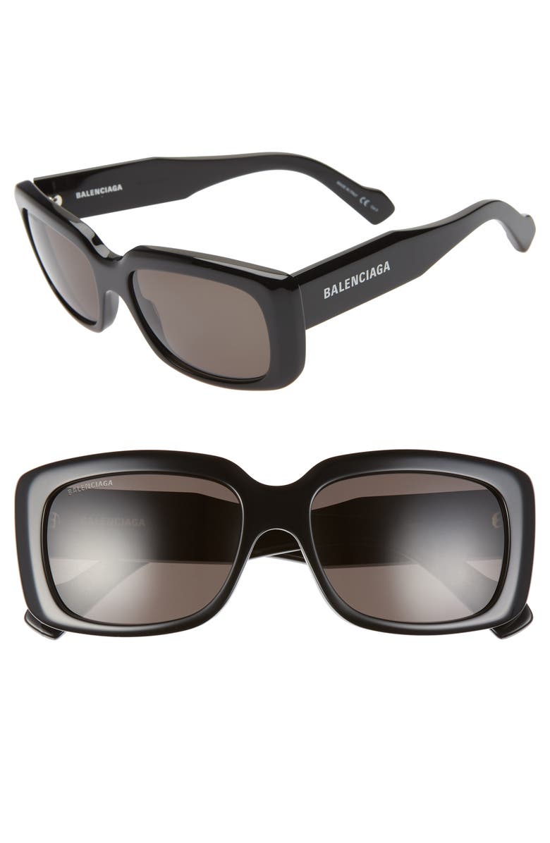 BALENCIAGA 56mm Rectangular Sunglasses, Main, color, SHINY BLACK/ BLACK