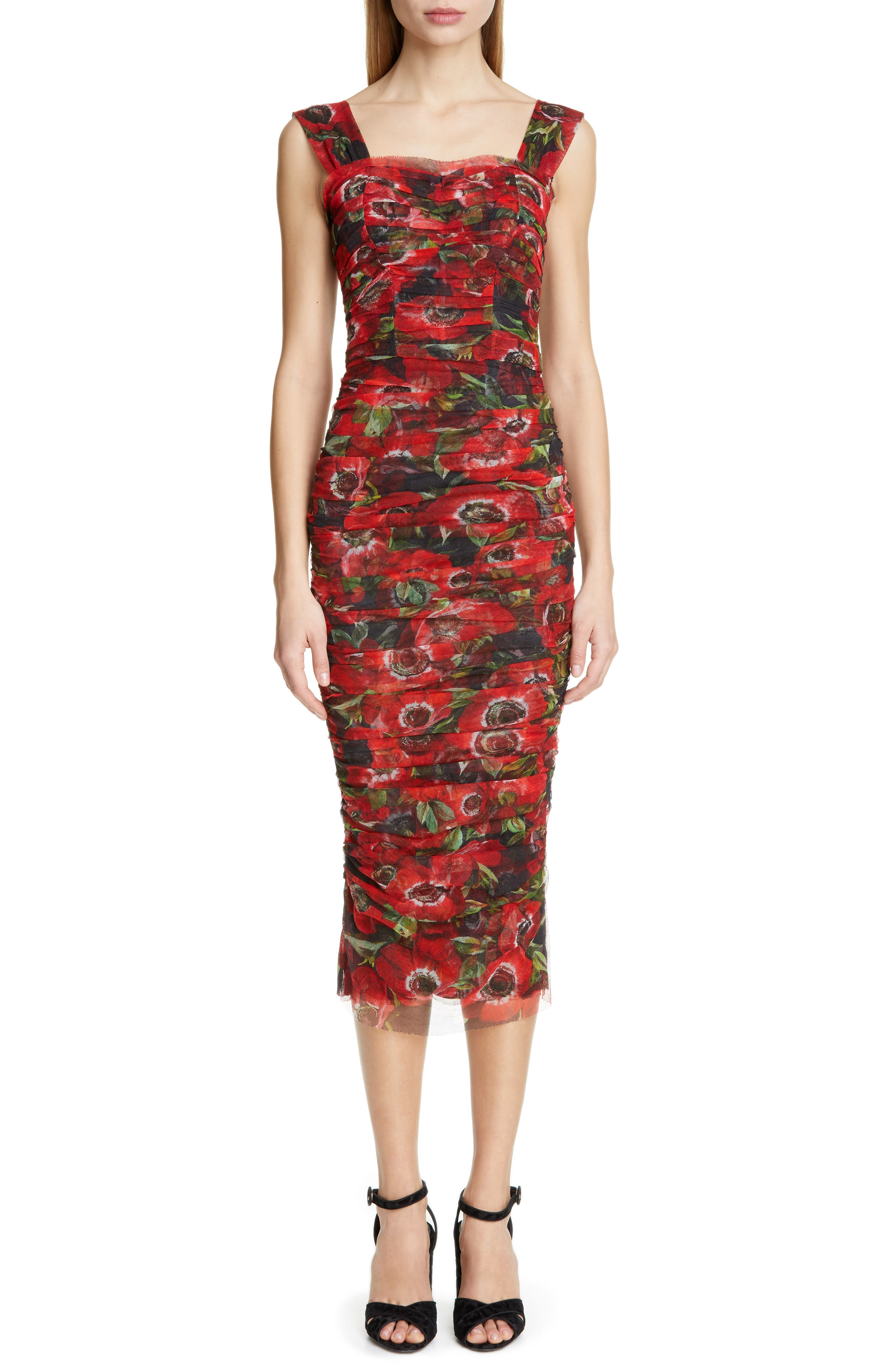 Dolce & gabbana Floral Print Ruched Tulle Sheath Dress, US / 46 IT - Red