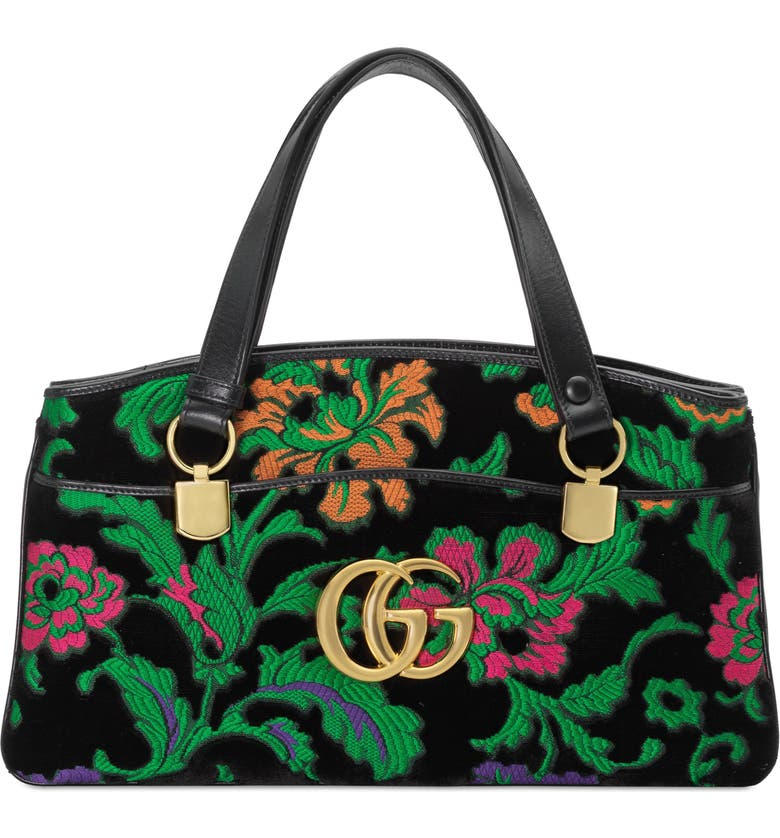 GUCCI Medium Arli Floral Chenille Jacquard Top Handle Bag, Main, color, GREEN/ BLACK MULTI