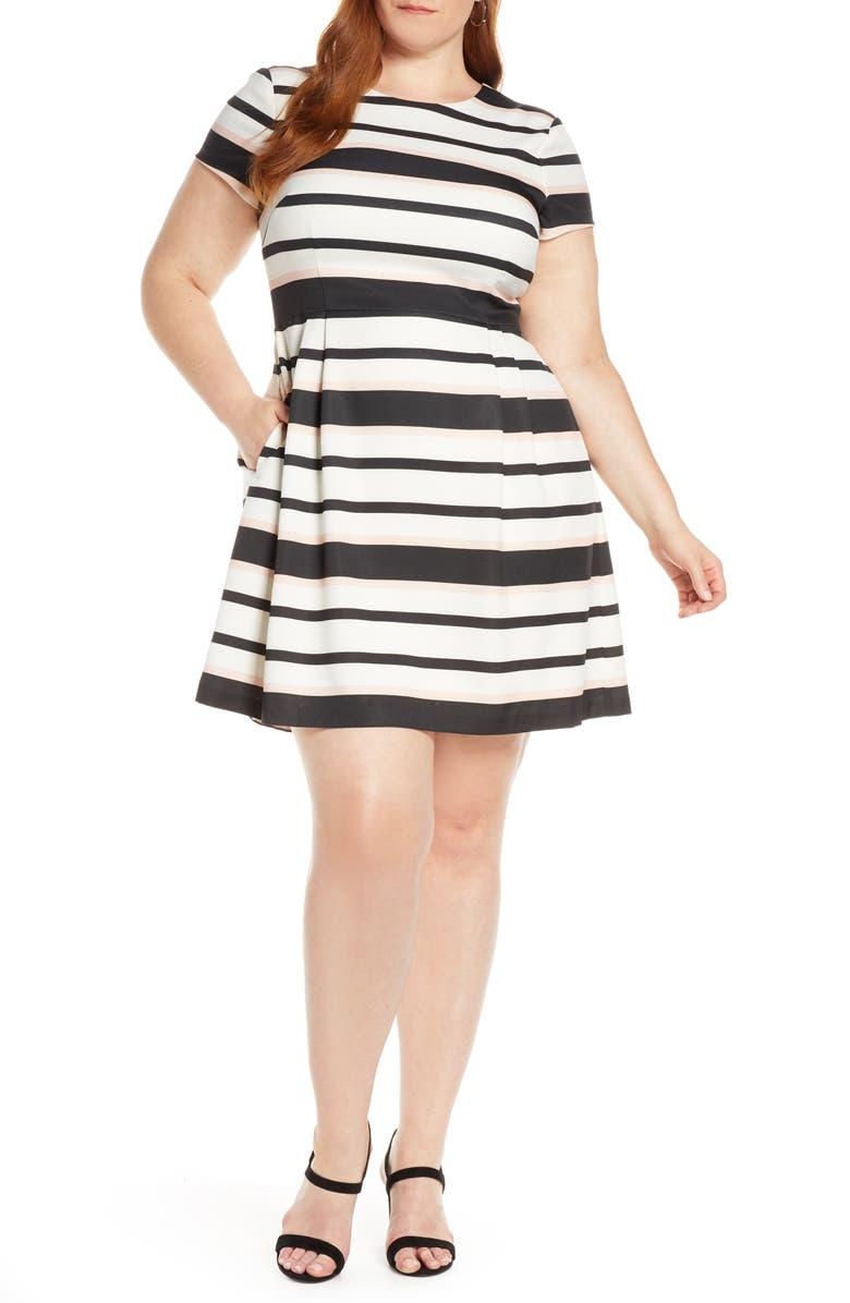 1901 Stripe Short Sleeve Fit & Flare Dress, Main, color, 001
