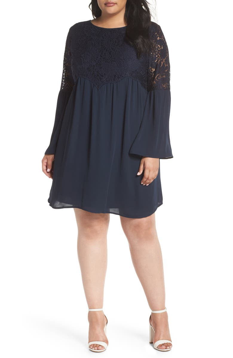 Lace Top Bell Sleeve Babydoll Dress