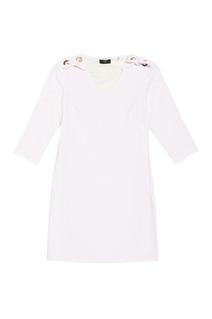 Image of T Tahari Tie Shoulder Mini Shift Dress