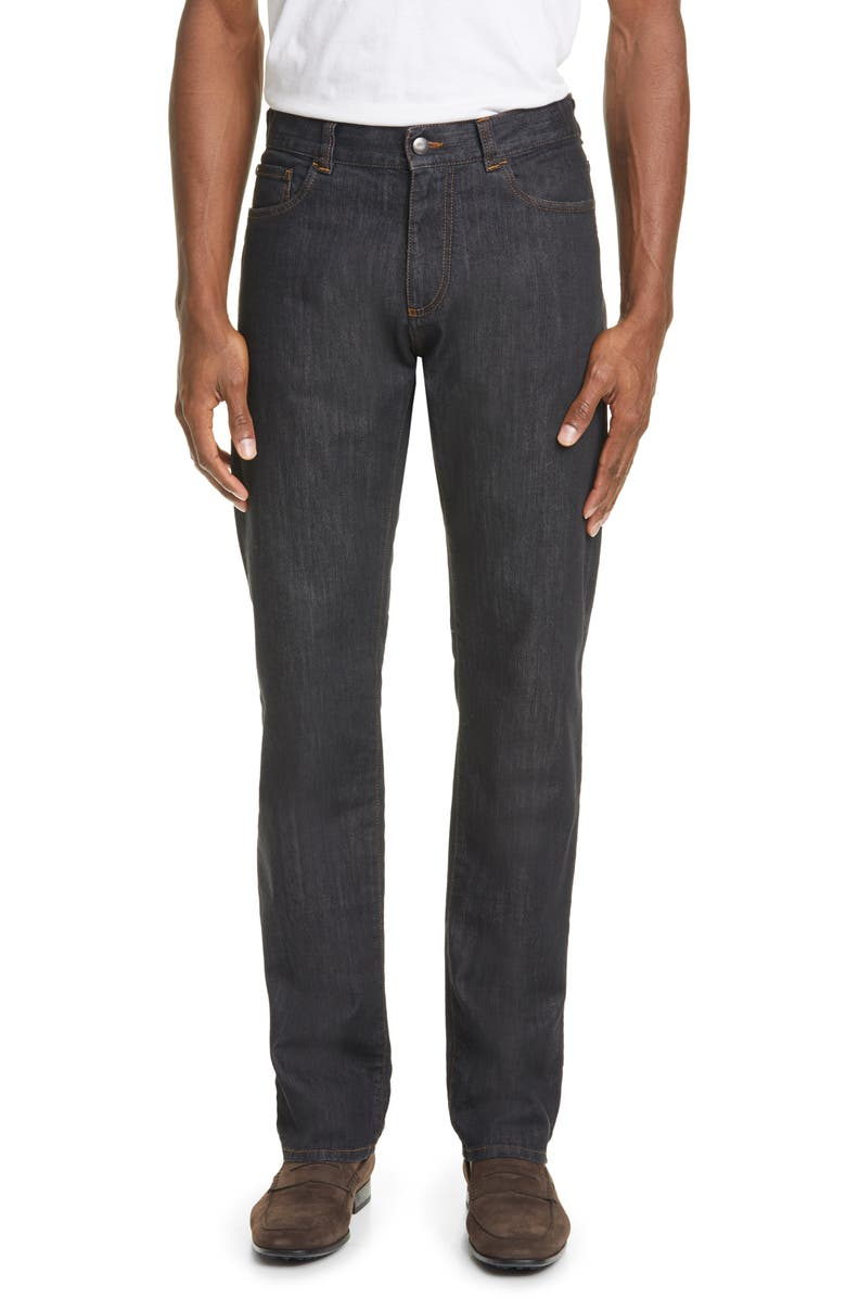 CANALI Classic Fit Stretch Jeans, Main, color, BLACK