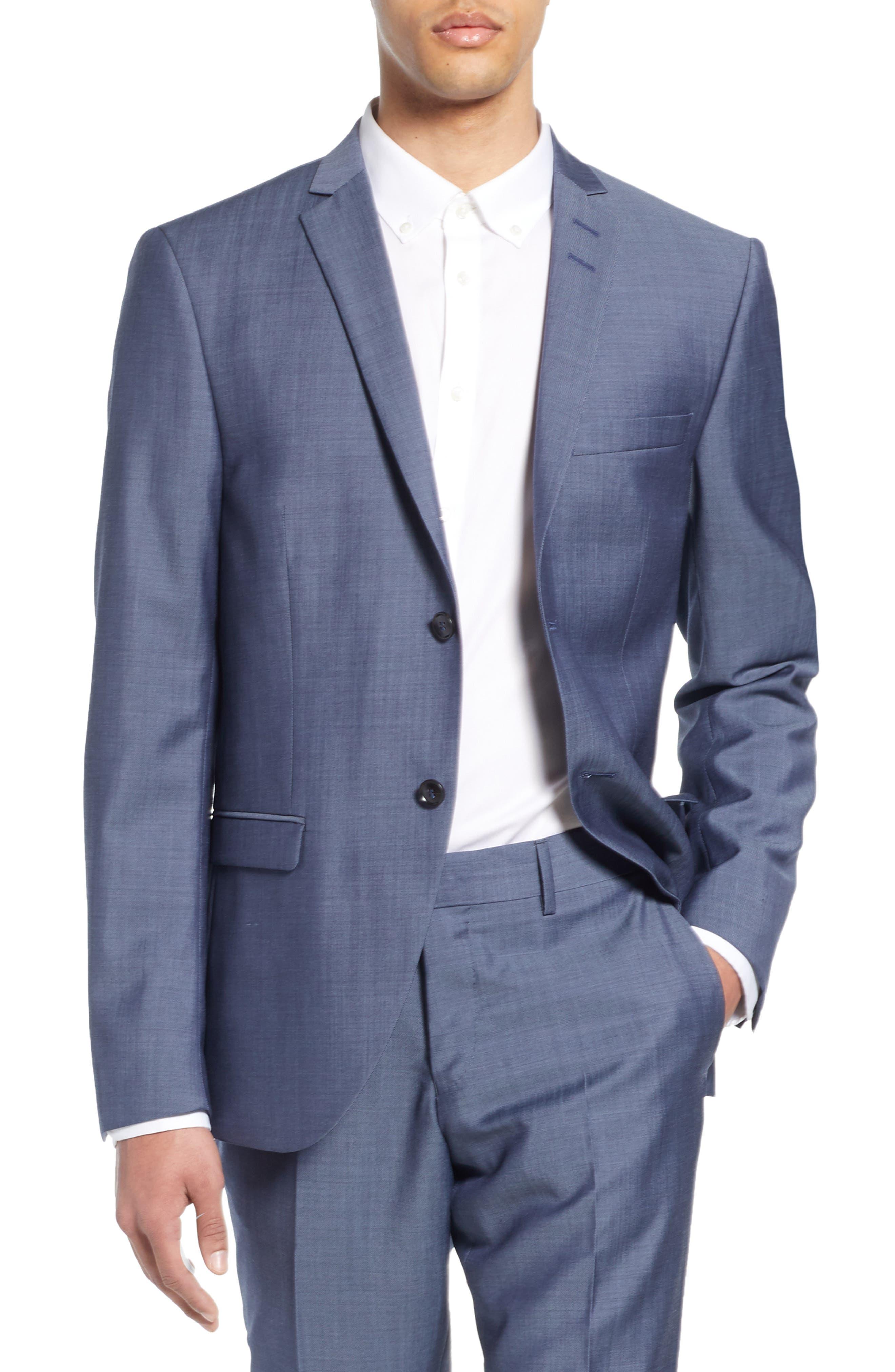 Jile Trim Fit Solid Wool Blazer, Main, color, SOFT BLUE