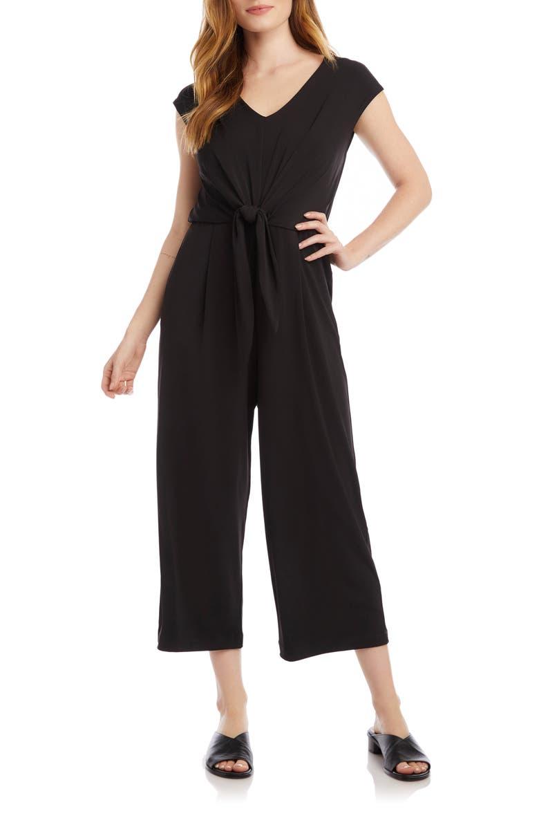 KAREN KANE Tie Front Crop Wide Leg Jumpsuit, Main, color, BLACK
