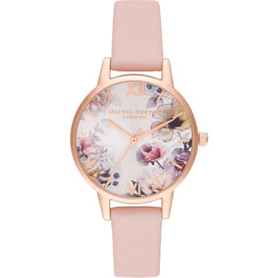 Olivia Burton Sunlight Florals Leather Strap Watch, 30Mm