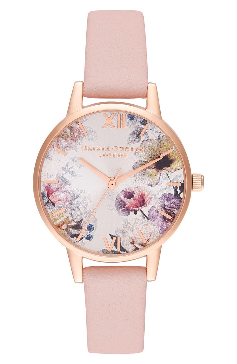 OLIVIA BURTON Sunlight Florals Leather Strap Watch, 30mm, Main, color, PINK/ FLORAL/ ROSE GOLD