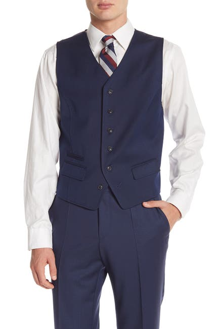 Image of Ben Sherman Blue Birdseye Six Button Suit Separate Vest
