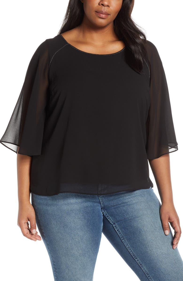 ESTELLE Center Stage Metallic Detail Chiffon Blouse, Main, color, BLACK