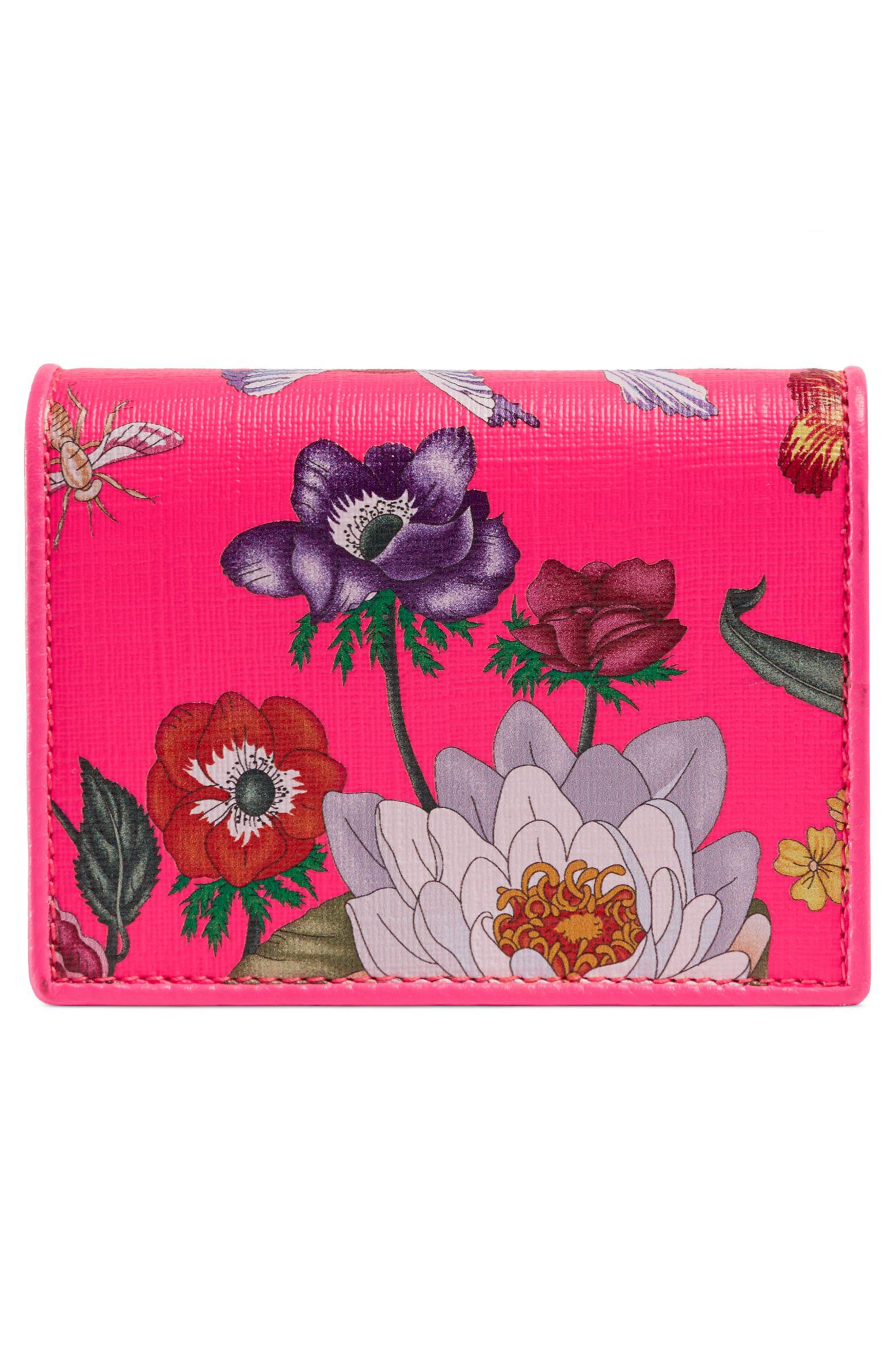 ,                             Flora Print Card Case,                             Alternate thumbnail 3, color,                             FUXIA FLOURESCENT