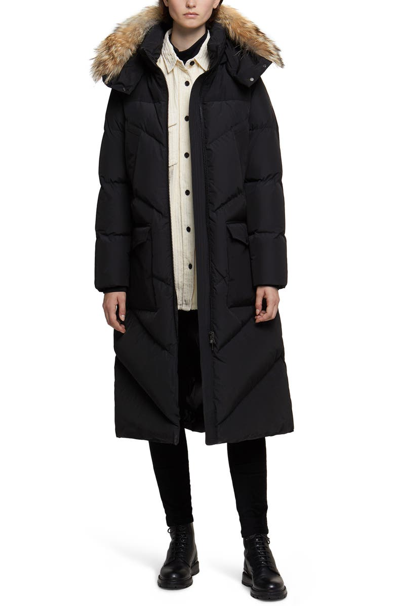 WOOLRICH Long Down Parka with Genuine Coyote Fur, Main, color, 001