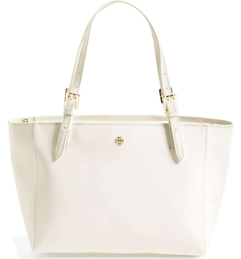 TORY BURCH 'Small York' Leather Tote, Main, color, 100