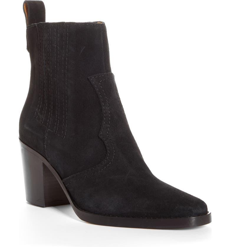 GANNI Short Western Boot, Main, color, BLACK