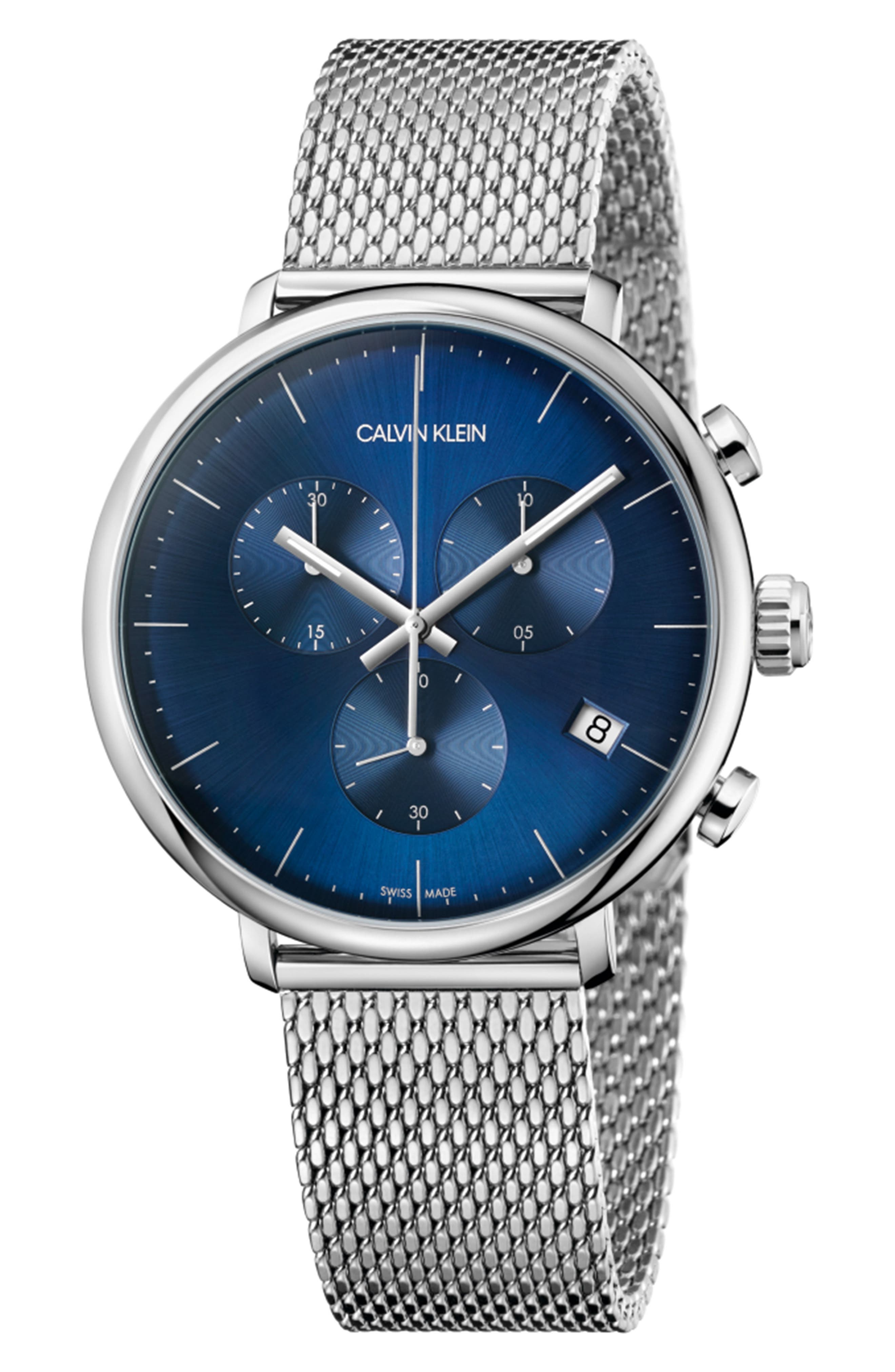 ,                             High Noon Chronograph Mesh Strap Watch, 43mm,                             Main thumbnail 1, color,                             SILVER/ BLUE/ SILVER