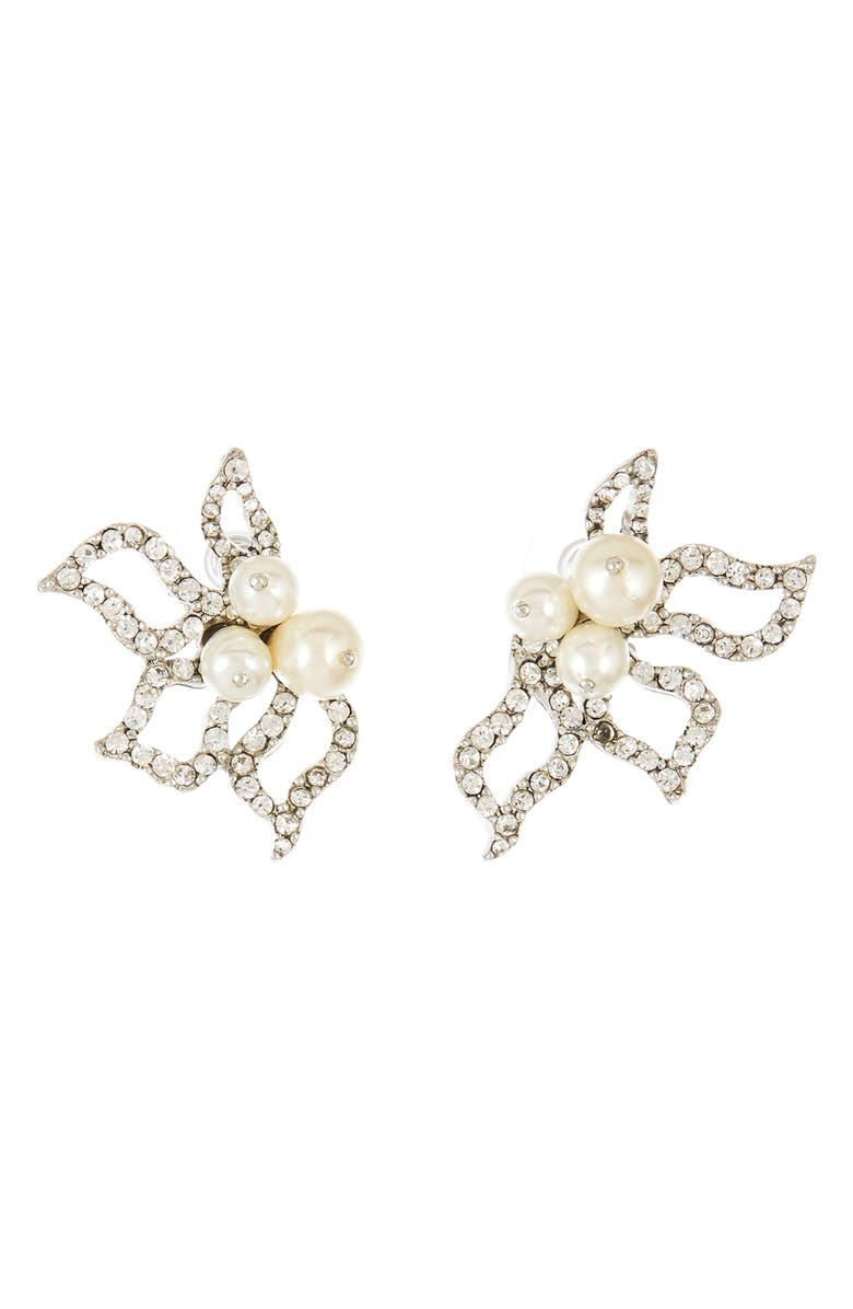 OSCAR DE LA RENTA Imitation Pearl Pavé Earrings, Main, color, 040
