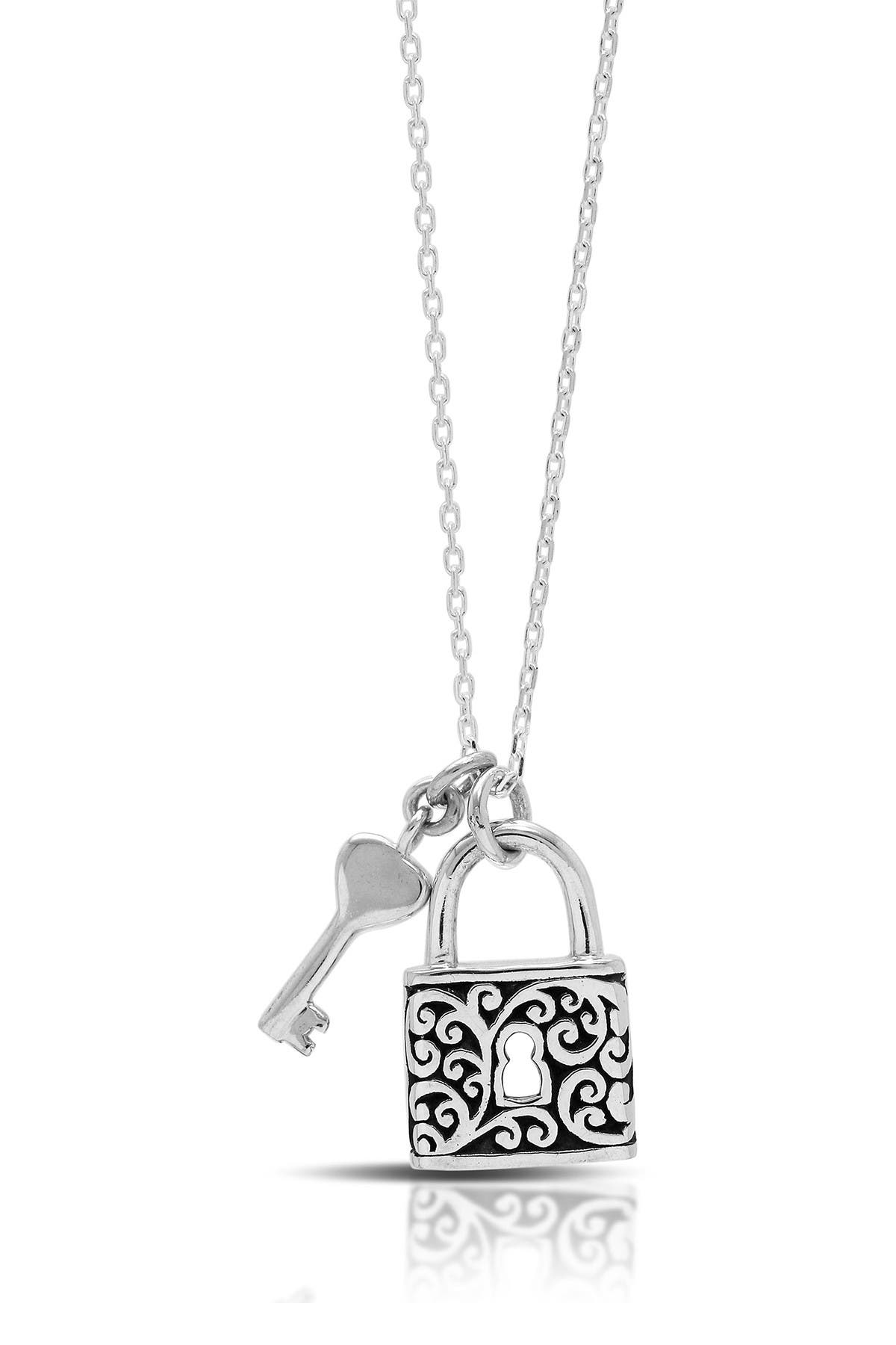 Image of Lois Hill Sterling Silver Baby Padlock with Key Pendant Necklace