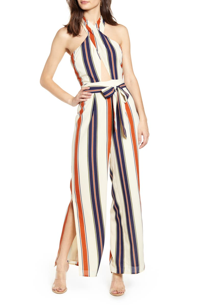 J.O.A. Halter Neck Jumpsuit, Main, color, IVORY/ RUST