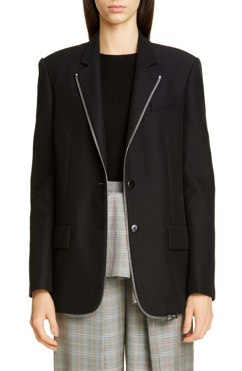 ALEXANDER WANG Zipper Trim Oversized Wool Blend Blazer, Main, color, BLACK