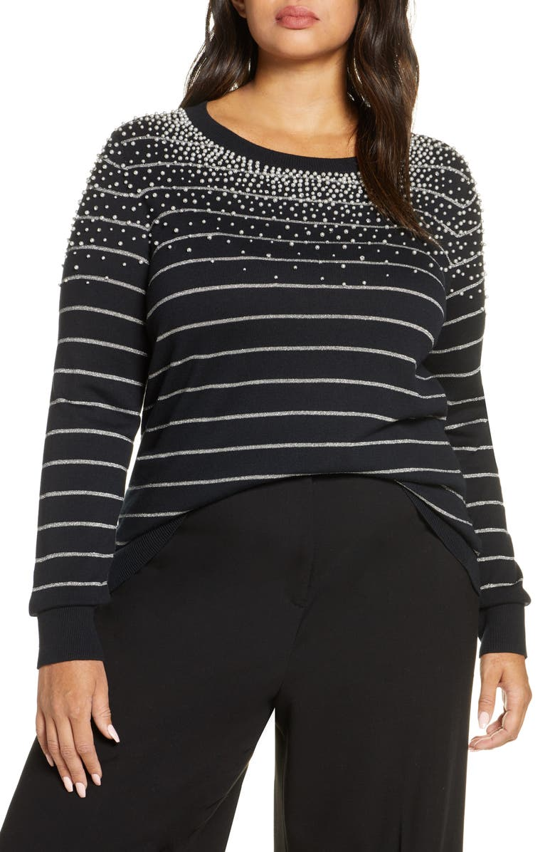 HALOGEN<SUP>®</SUP> x Atlantic-Pacific Pearl Metallic Stripe Sweater, Main, color, BLACK- SILVER PEARLED STRIPE