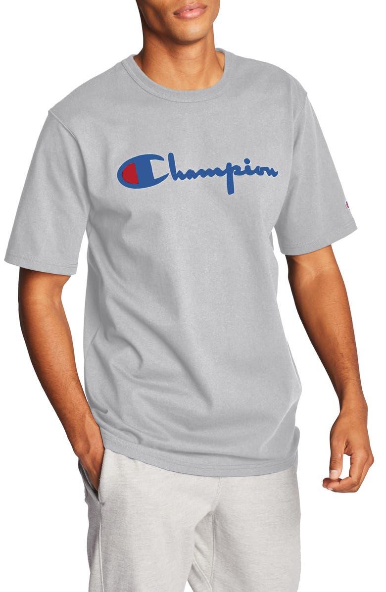 Vintage Flock Print Logo T Shirt by Champion
