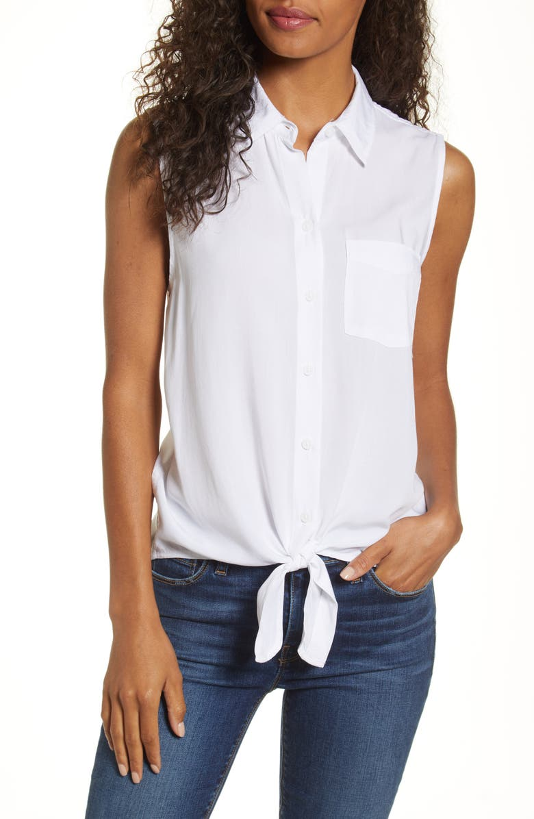 BEACHLUNCHLOUNGE Janera Tie Front Rayon Top, Main, color, WHITE