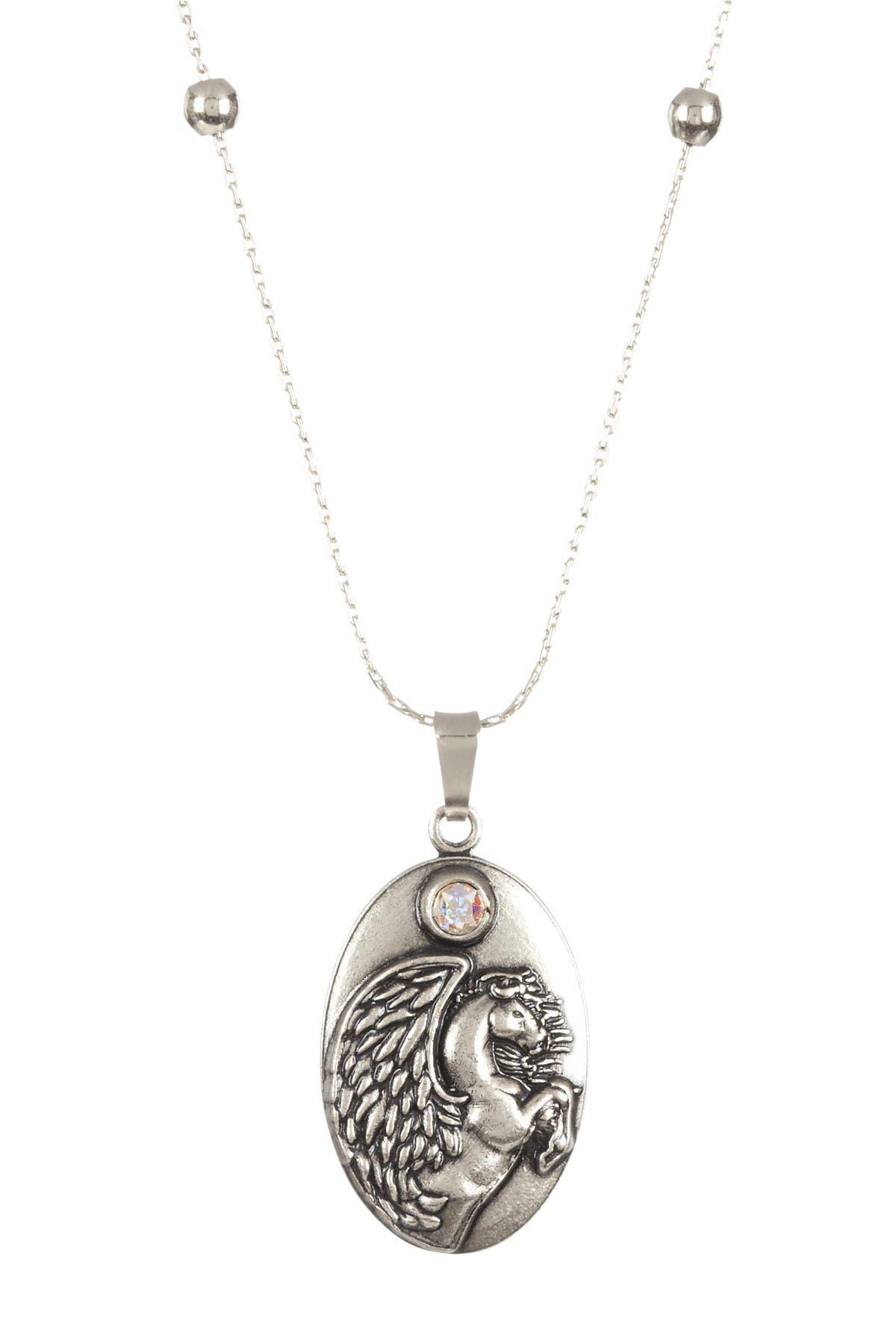 Image of Alex and Ani Pegasus Swarovski Crystal Beaded Station Pendant Necklace
