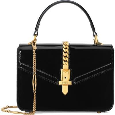 Gucci Mini Sylvie 1969 Patent Leather Top Handle Bag - Black